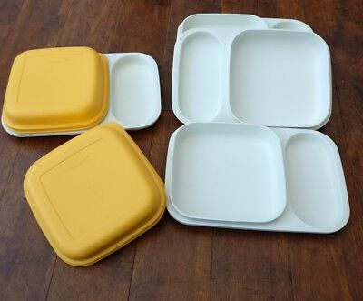 Tupperware Picnic covered plate serving set of 4 with knives forks and spoons