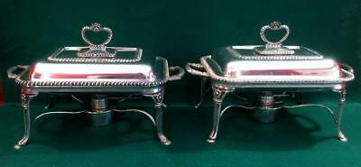 Stunning pair of Edwardian entree dishes on warmer bases c1900