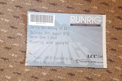 Runrig, The Last Dance, 18th August, 2018, Stirling, Farewell Concert Ticket