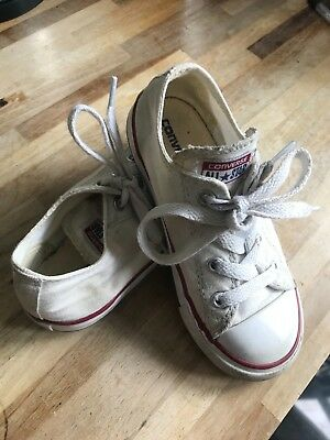 Baby White Converse All Star Canvas Trainers UK Infant Size 9 Euro 25