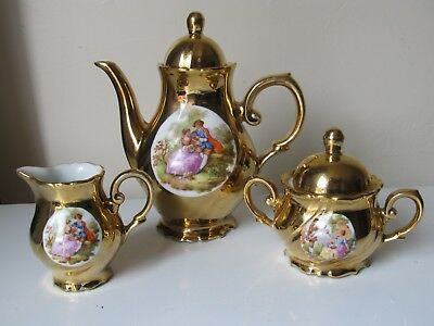 Bondware Limoges Porcelain Gilded Fragonard Coffee Pot + Sugar + Creamer