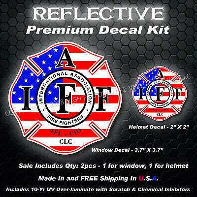 IAFF Firefighter REFLECTIVE Decal Kit 2pcs USA Flag American Patriot 0262