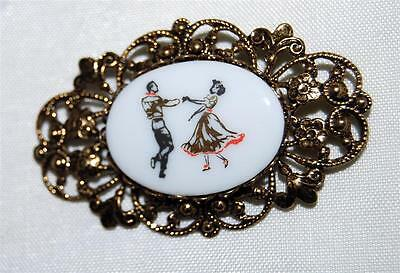 Vintage 1950s Country Western Square Dancers Painted on Porcelain Gold Tone Pin
