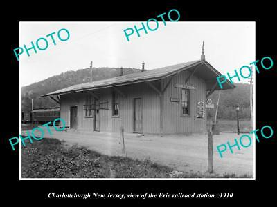 OLD HISTORIC PHOTO OF CHARLOTTEBURGH NEW JERSEY, ERIE RAILROAD STATION c1910 1