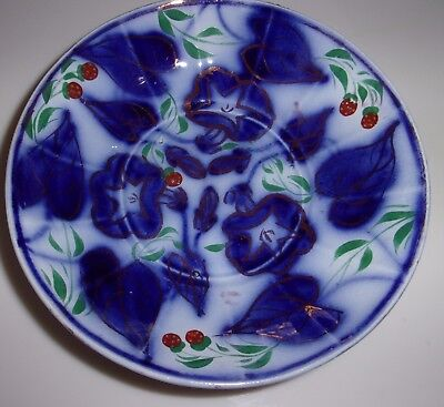 "Antique Gaudy Ironstone 5.5"" Morning Glory Strawberry Cup Plate Bowl, ExC"