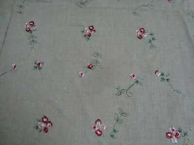 "2.3 yds EMBROIDERED LINEN Rosebud FABRIC DRAPERY Clothing 53"" x 83"" BTP Oatmeal"