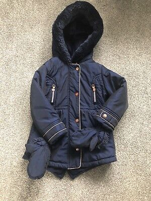 Girls Ted Baker Coat With Mittens 3-4 Years