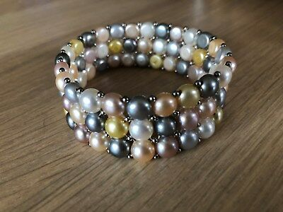 Honora Pearls button pearl multi-coloured bracelet, excellent condition