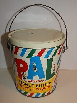 Vintage Pal Peanut Butter 5 Pound Tin Pail Container With Lid Nice