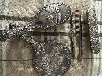 B&Co, Antique solid silver dressing table set 4 piece Fully hallmarked. Cherubs