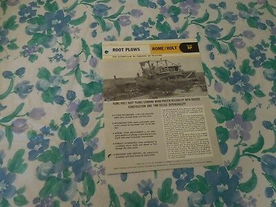 1969 Rome/holt Series Rp Root Plow For Caterpillar Tractors Sales Brochure