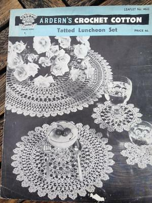 Vintage Tatted Luncheon Set Ardern's Crochet Cotton Pattern Leaflet 4622