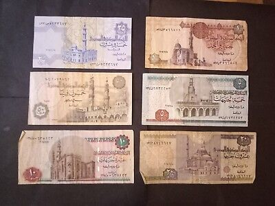 Egypt 6 different banknotes