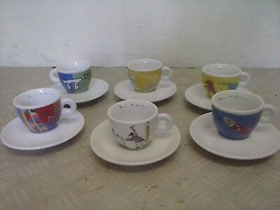 Tazzine Illy Amici collection swiss kids 1998 caffe cappuccino ESPRESSO CUPS