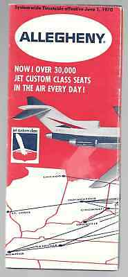 ***1970 Allegheny Airlines System Timetable - June 1, 1970***