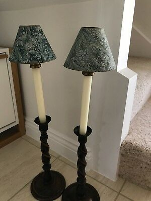Pair of Hand Painted Paper Candle Shades with Brass Shade Holders