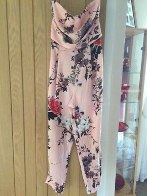 River Island pink strappless Jumpsuit - size 8