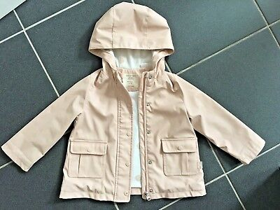 Zara Girls Pale Pink with Gold Dots Rain Coat Mac Jacket Lined Age 2-3