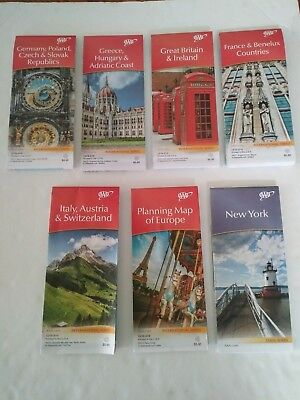 AAA International Series Maps. Multiple Countries. 2016-2019. Lot Of 7. Includes