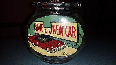 """Rare 1950's Bower Mfg """"saving For A New Car"""" Glass Fishbowl Bank~ Goshen, Ind"""