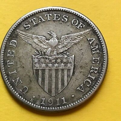 Us Philippines One Peso 1911-S Semi-Key Date Scarce #220