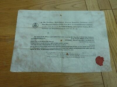 1830s WILLIAM IV RARE JERSEY ROYAL MILITIA OFFICER COMMISSION CERTIFICATE & SEA