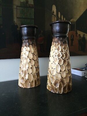 Beautiful Pair of Large African Heavy Clay Candle Pilars