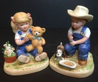 """HOMCO Porcelain figurines DENIM DAYS  """"After Chores"""" Set of Two with tag #1504"""