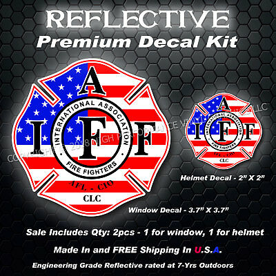 IAFF Firefighter REFLECTIVE Decal Kit 2pcs USA Flag American Patriot UNLAM 0264