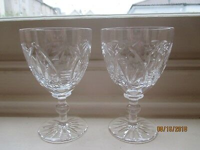 rare pair of webb crystal large water/ wine glasses in the gothic pattern
