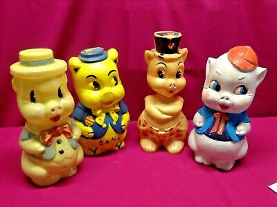 Vintage Set of 4 11 Inch Tall Plastic Piggy Banks Collectable