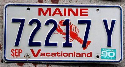 "Maine ""Lobster"" License Plate ""Vacationland"" with a 1990 Sticker"