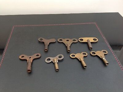 7 X Vintage Old Clock Keys Winders