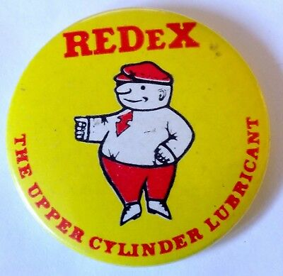 Vintage Redex Cylinder Lubricant Advertising Tin Button Badge c.1960's