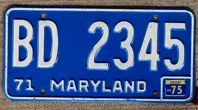 1971 White on Blue Maryland License Plate with a Matching 1975 Sticker