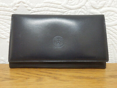 Dark navy blue leather 'designer inspired' large purse / wallet. Made In Italy