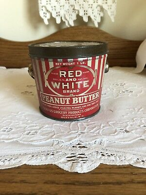 Vintage Original Red and White Brand Peanut Butter Tin Buffalo, N.Y. 1lb