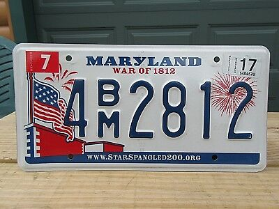 Clean Maryland War of 1812 License Plate Tag 4BM2812