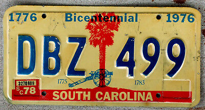 1978 South Carolina Bicentennial License Plate with Cannon in Front of Palm Tree