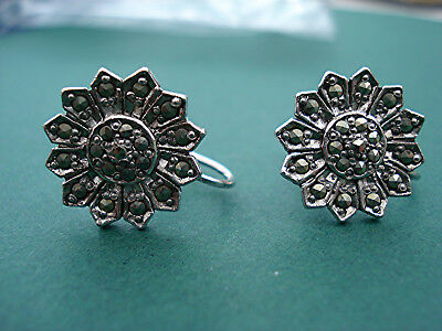 DELIGHTFUL MARCASITE SUNFLOWERS SPARKLY SCREW EARRINGS VINTAGE 1940s