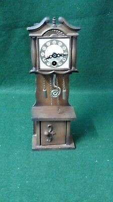 """Wooden Miniature working wind up grandfather clock 8"""" Tall"""