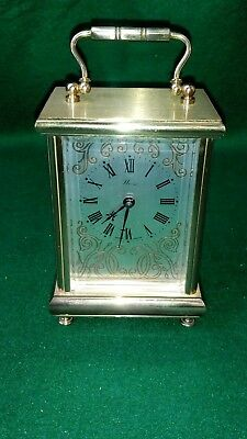 Vintage Weiss English Made Brass Quartz Mantle/carriage Clock