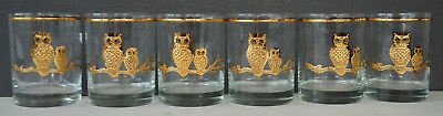 Culver Barware Gold Owl Double Old Fashioned Tumblers (6)