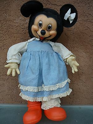 Vintage Minnie Mouse Toy Doll Rubber Face Straw Filled Body Early Gund 18 inch