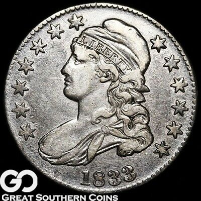 1833 Capped Bust Half Dollar, Tough Early Silver Half