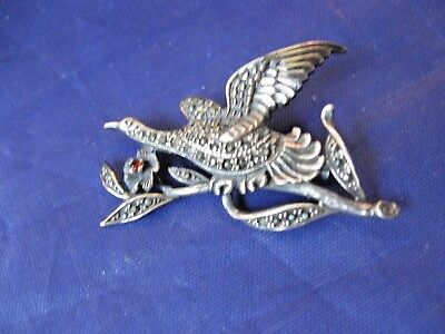 Vintage Sterling Silver Pin / Brooch  - Depicts a Bird w Open Wings on a Branch