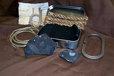 English Flint and Steel Fire Starter Kit W/ Hinged Tin Box, Fire Striker, Scouts