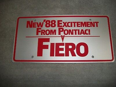 Org 1988 Pontiac Fiero Dealership Showroom License Plate