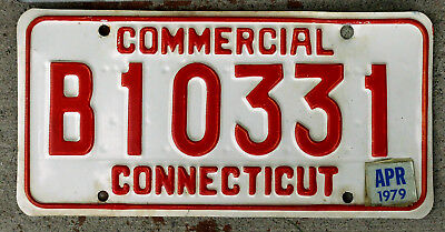 Red on White Connecticut COMMERCIAL License Plate with a 1979 Sticker