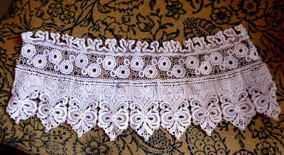 "Victorian Mixed Cotton Lace Fragment Simply Stunning 11 1/2"" By 5"""